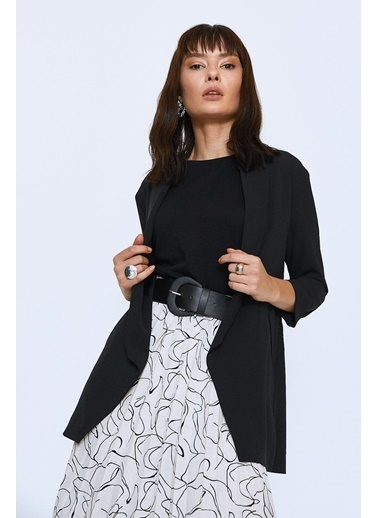 Quzu Şal Yaka Fileto Cepli Ceket Siyah